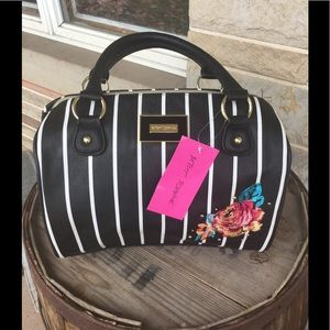 Betsey Johnson striped satchel.